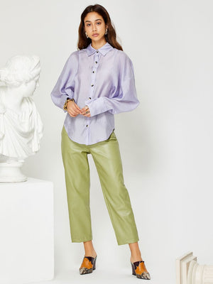 Crackle glaze seam detail shirt - lilac
