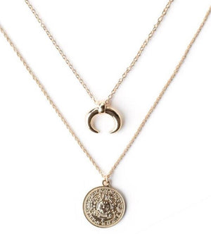 Crescent and disc layering necklace - gold plated