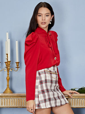 Crimson bow shirt - carmine red