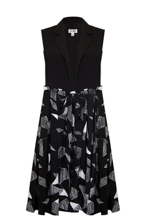 DELPHA origami print wrap midi dress