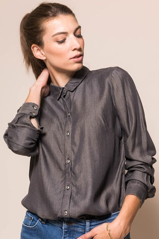 DINOZ mid grey wash long sleeve shirt