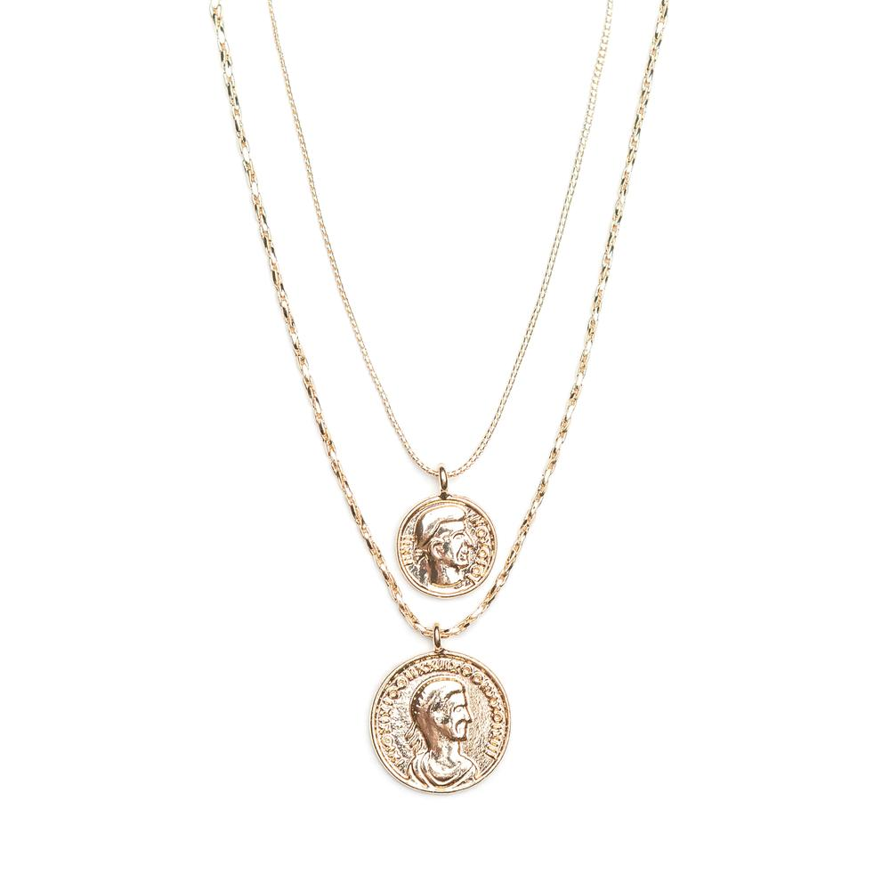 Double roman disc necklace - gold plated