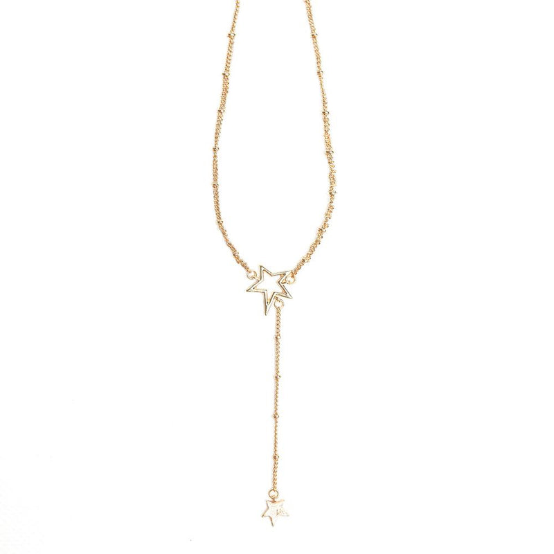 Double star drop necklace - gold plated
