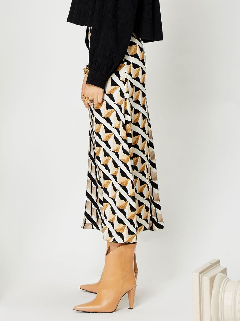 Double Take midi skirt - brown/black/ivory