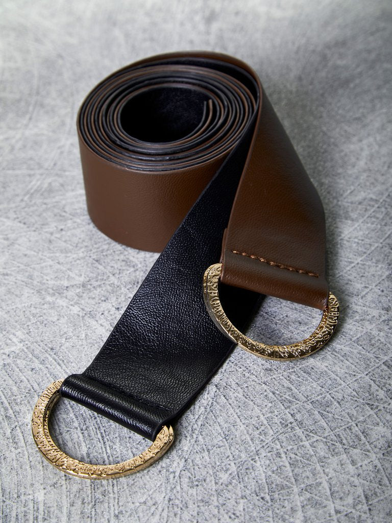 DOUBLE DANCE d-ring belts - brown/black