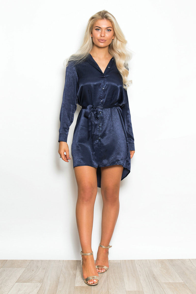EDIE dip hem shirt dress - navy