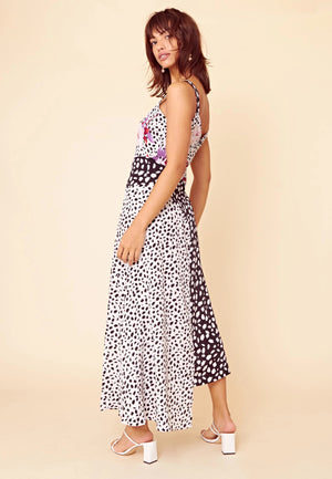 GINA multi print mix and match seamed midi slip dress