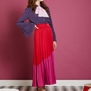 Faye red and pink colour block skirt - fushia