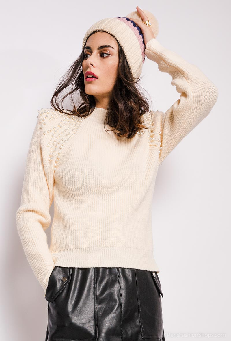 Beige Sweater with Shoulder Pad and Pearl Detail