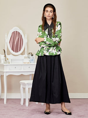 FLORA DORM pleated shirt - green/black