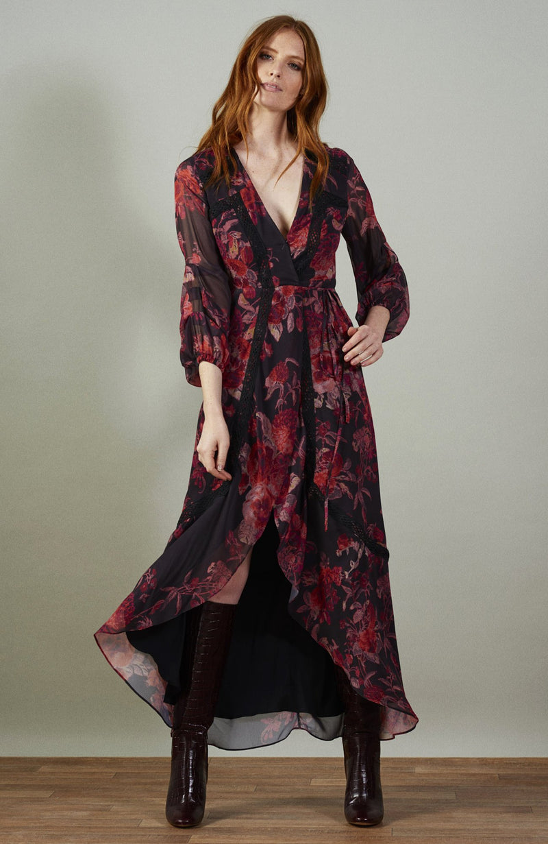 PENNY maxi wrap dress with blouson tuck sleeves