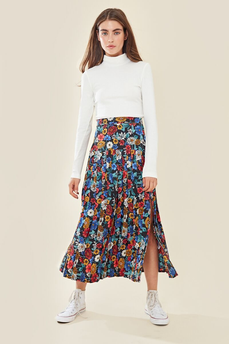 Vintage floral pleated midi skirt with thigh split