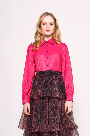 Glamorous fuchsia textured long sleeve pink blouse