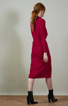 SEANNAN velvet ruched body midi with thigh split - fuschia