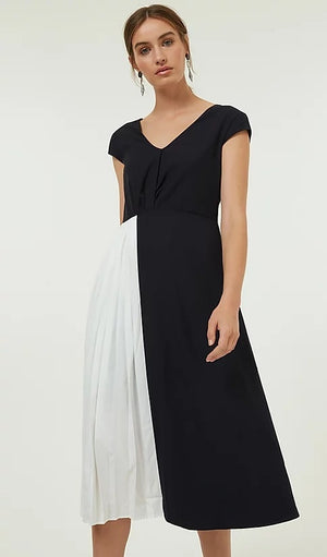 GAIA pleated midi dress - navy/white