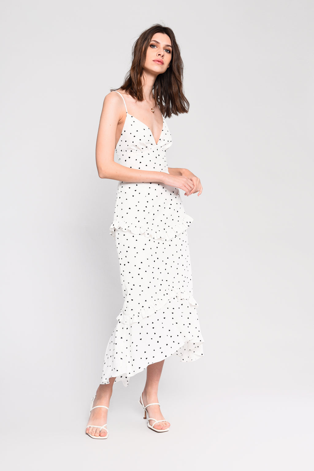 JESS heart print frill cami dress - white