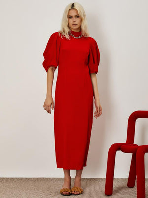 Ghospell High neck midi dress in a textured crepe fabric. Featuring puff sleeves with seam detailing.