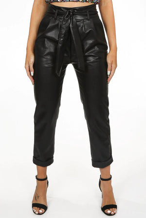 GINA faux leather ankle gazer trousers with tie belt - black