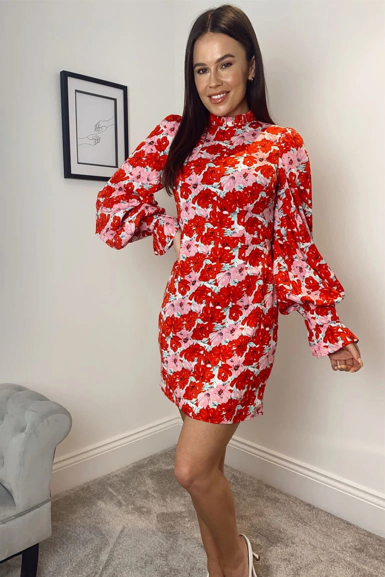 Girl in Mind pink and red floral mini dress featuring a high neck, balloon sleeves, a cinched in waist and zip fastening to the back.