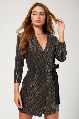 SPRITZ copper foil tuxedo mini wrap dress
