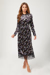 NARCISSA black floral print midi dress