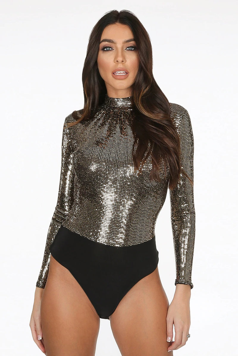 Gold metallic glitter long sleeve high neck bodysuit