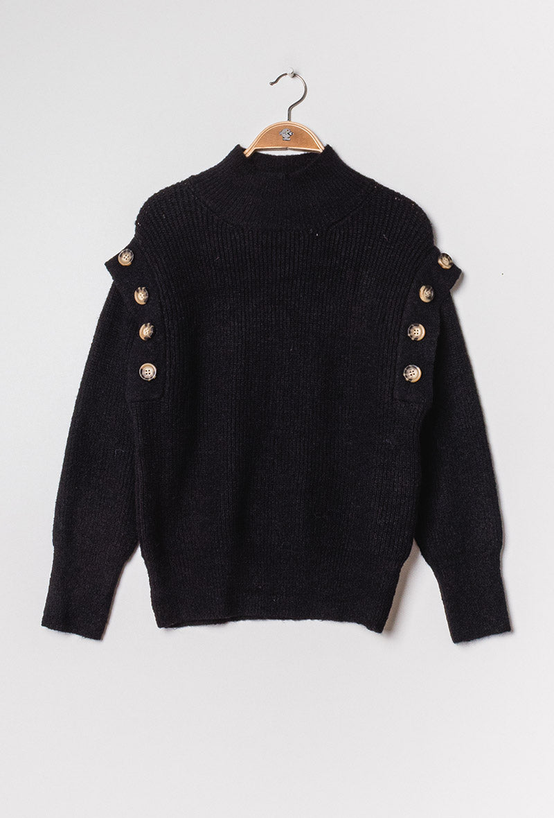 Black Ribbed Knit Sweater with turtle neck featuring button detail around shoulders