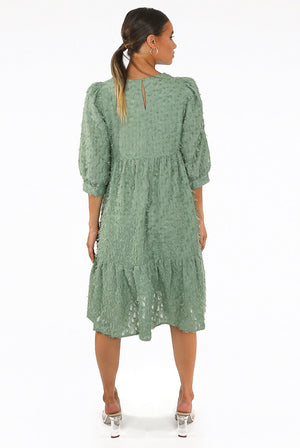 Green round neck thread trim smock dress