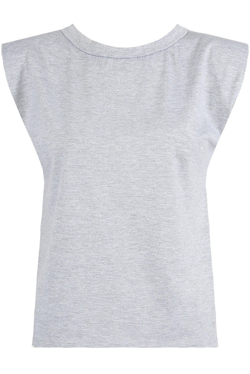 Grey shoulder pad tank top