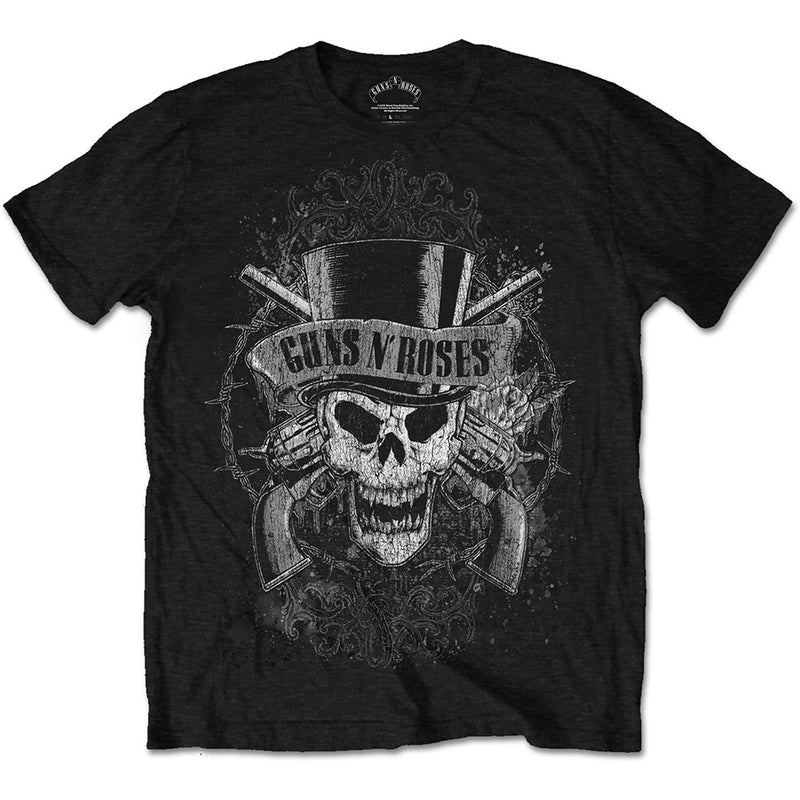 Guns N Roses faded skull graphic band tee - black