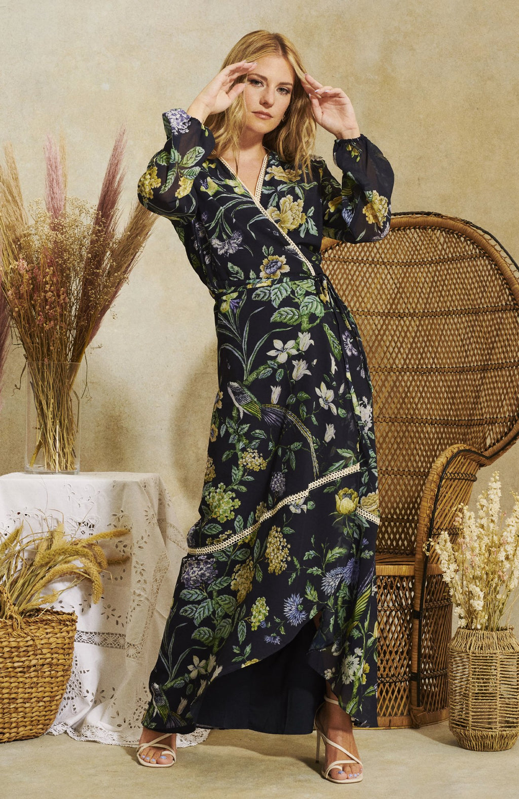 The IRIS Hope & Ivy Wrap Front Maxi Dress With Blouson Sleeve And Contrast Lace Inserts in a hand designed print.