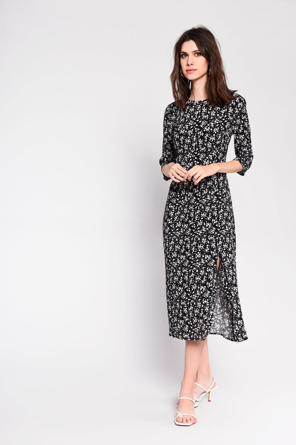 Black stone ditsy print midi dress