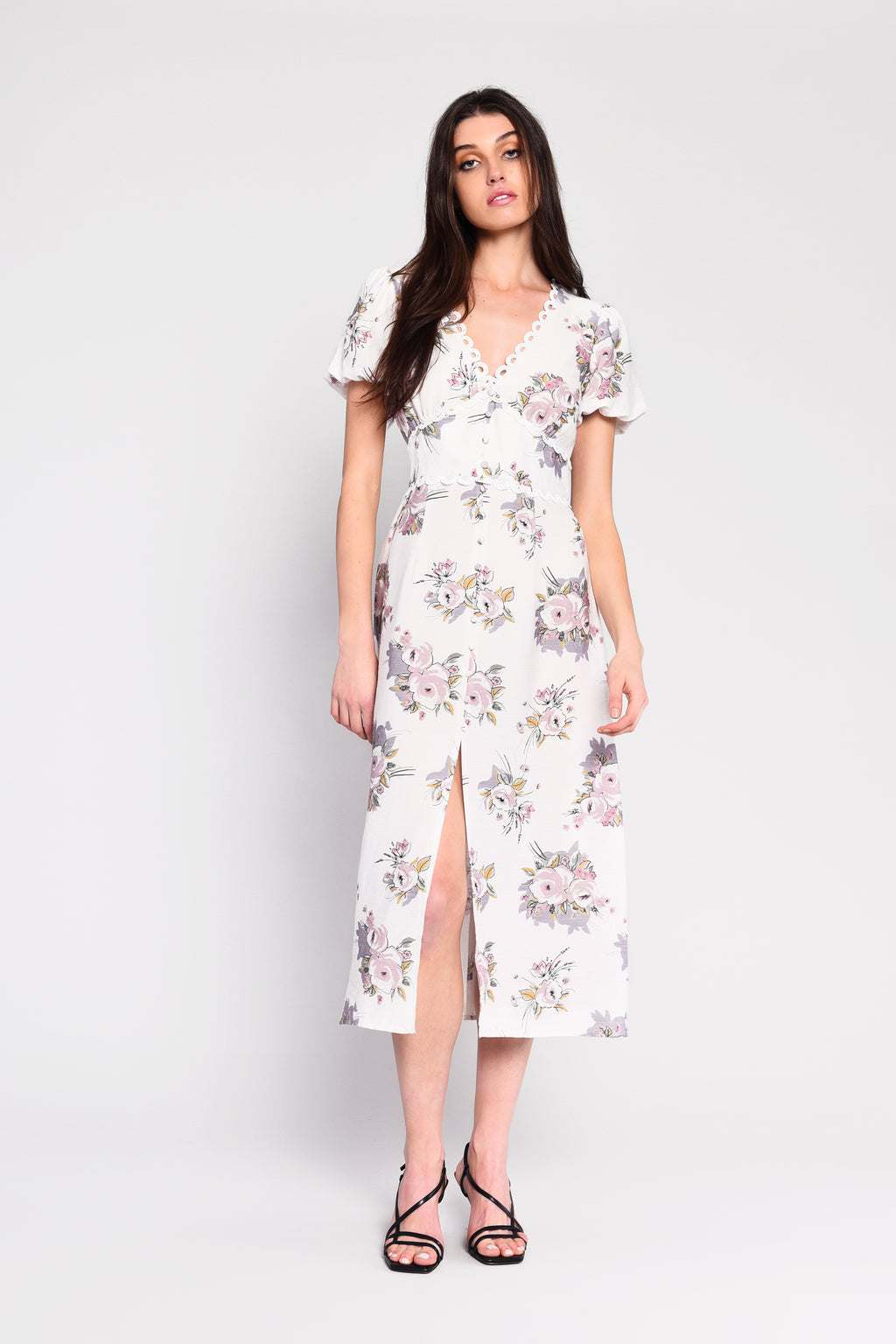 CALLIE floral midi dress - white/lilac