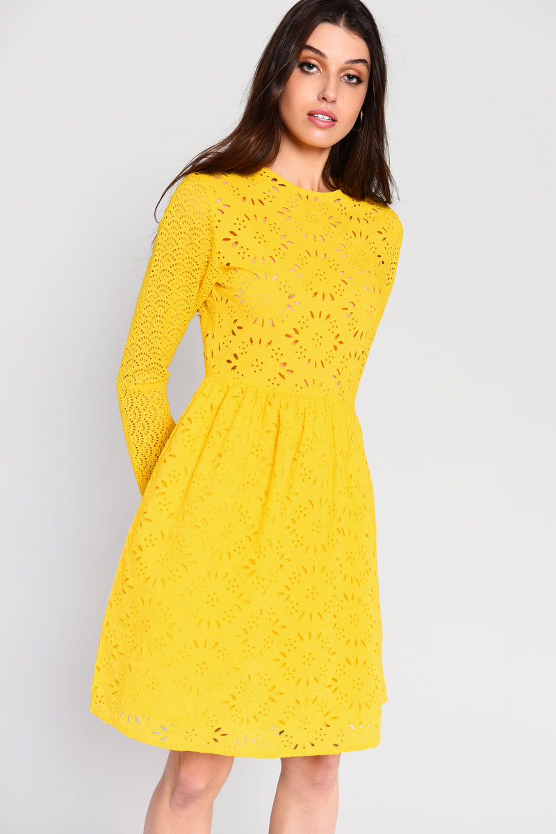 Glamorous Yellow broderie anglaise long sleeve skater style dress