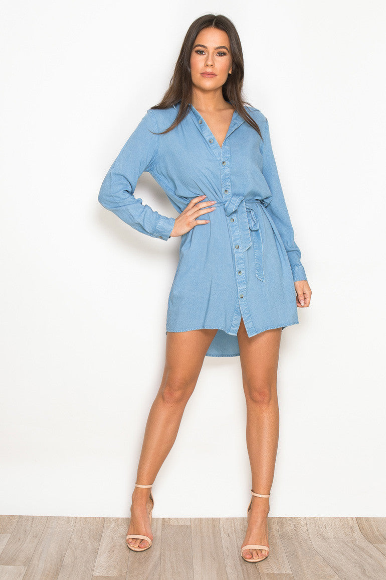 IVY tie waist shirt dress - denim