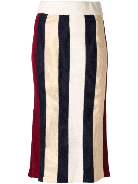 CECILY striped knitted skirt
