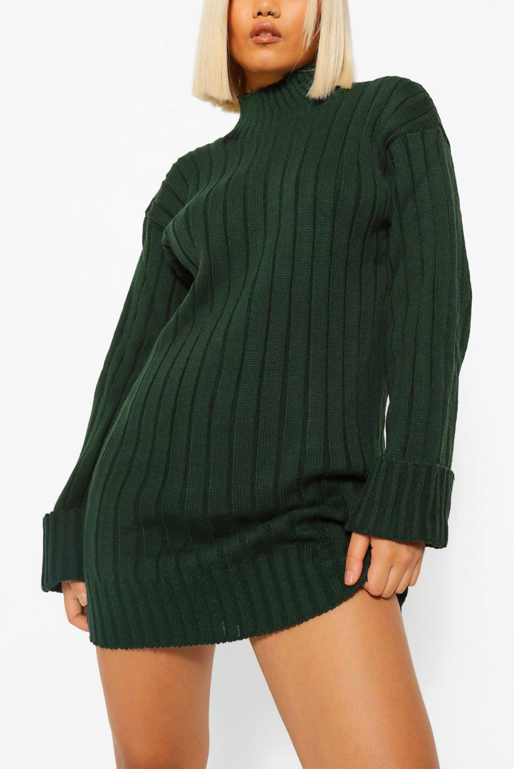 Green oversized rib knit longline jumper featuring wide sleeve turn-up detail.  Perfect for layering paired with our Jax biker leggings.