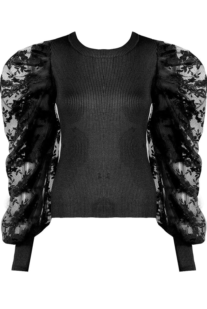 SIENNA lace puff sleeve ribbed jumper - black