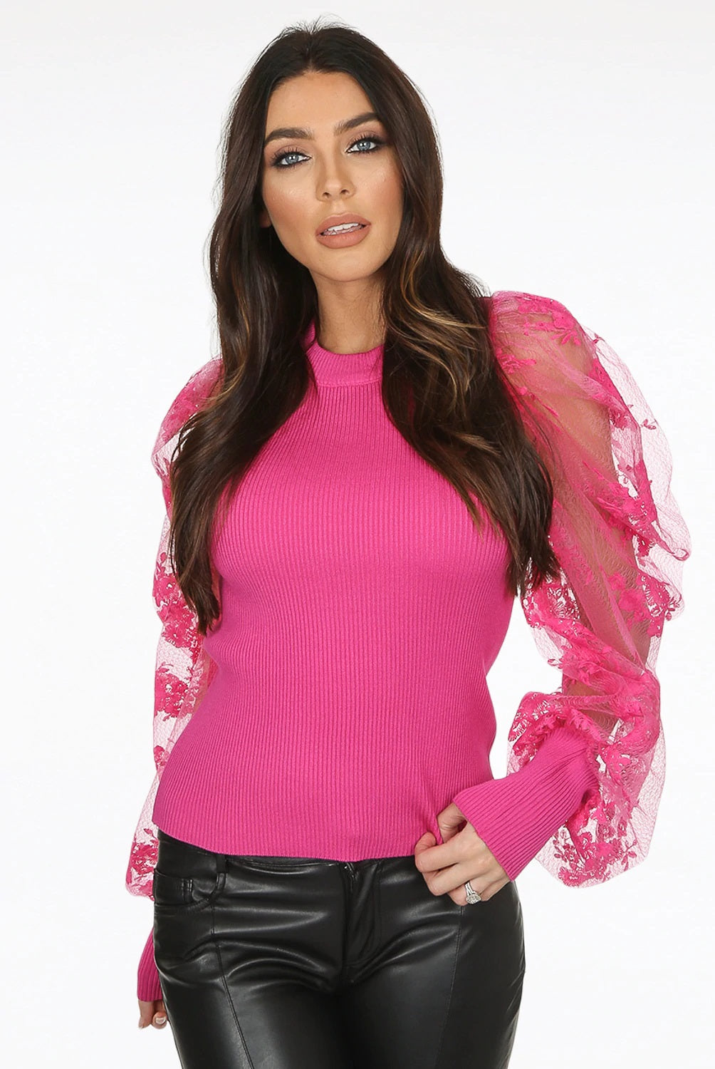 SIENNA lace puff sleeve ribbed jumper - fuchsia