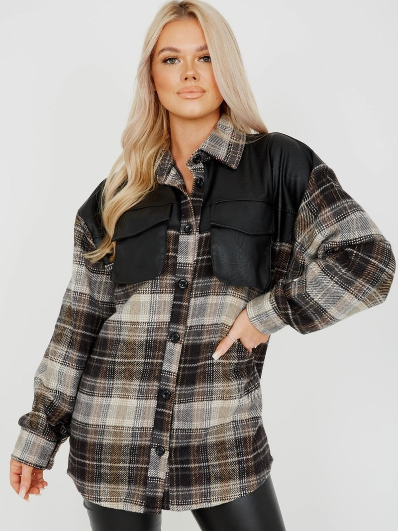 Laney PU detail oversized thick checked shacket