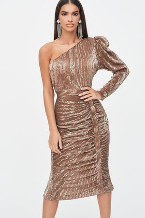 Rosie Connolly for Lavish Alice puff one shoulder sequin midi dress in gold