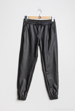 Our 'Carrie' Faux Leather Joggers ... You need these! For a casual look, paired with a sweatshirt and denim jacket, giving you all those casual vibes.   Or dress up with a cami and heels for that night time look.