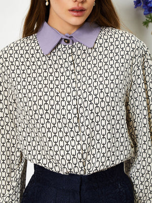 Link Lily boxy shirt - black & beige