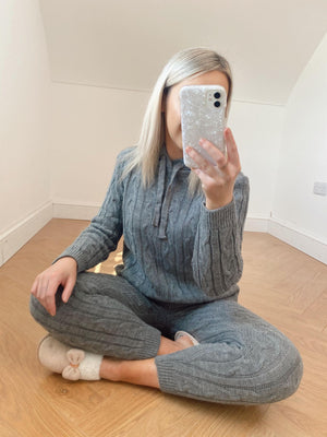 Cable Knit Lounge Set - Grey