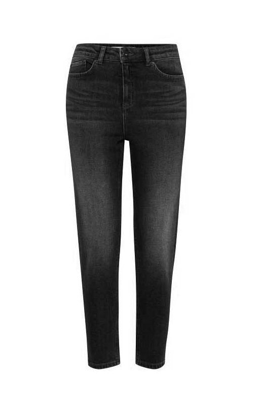 LUVA washed black high waisted cropped jeans