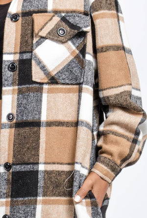 Longline Beige Overshirt Checked Shacket.