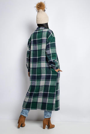 Sheeva Longline Overshirt Green Checked Shacket.