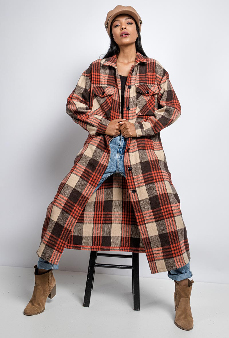 Longline Overshirt Red Checked Shacket.