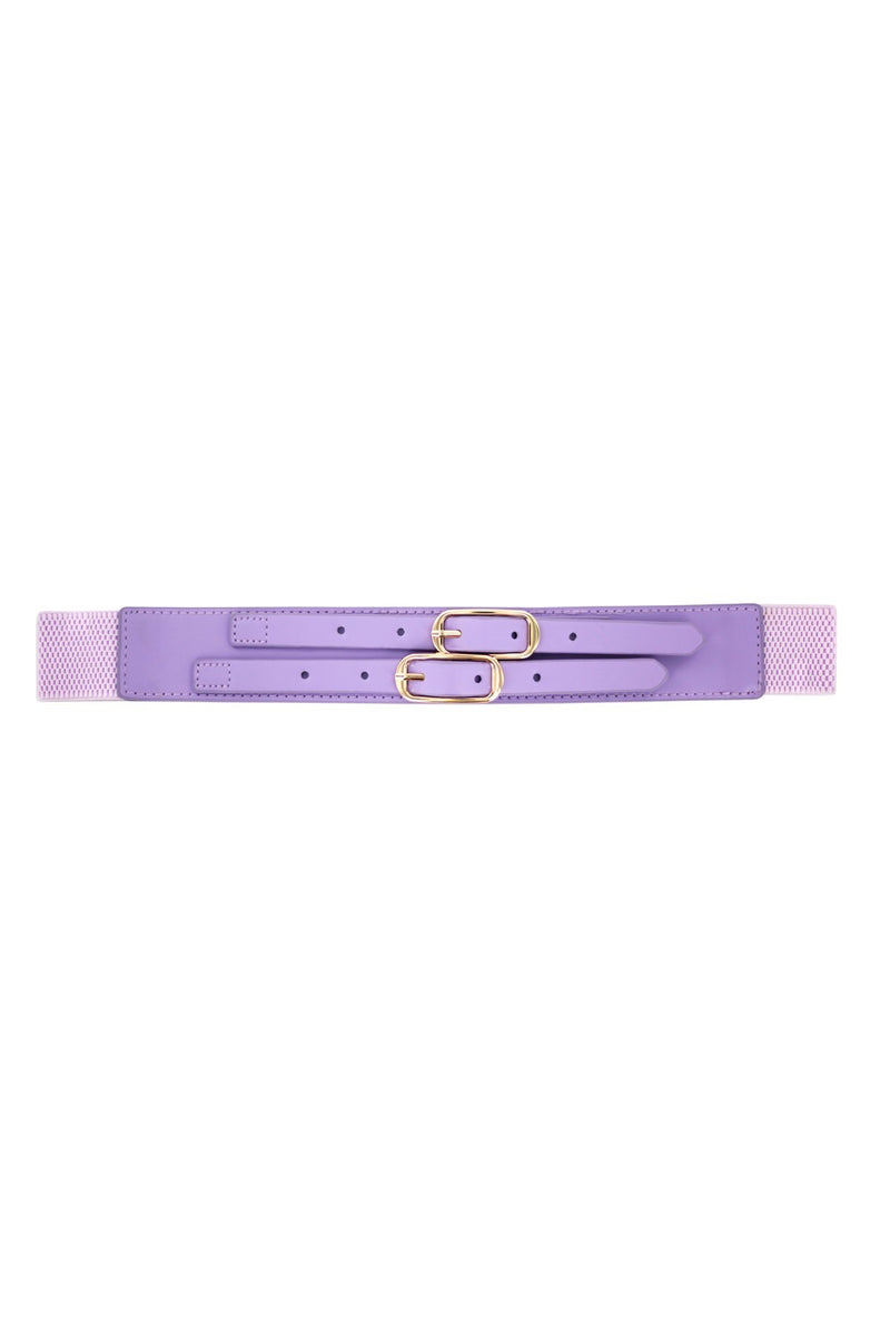 Minueto lilac Elasticated belt. with Snap-button fastening featuring mock double buckle at front.