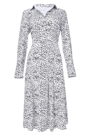 Glamorous long sleeve midi shirt dress in a dalmatian print, fitted waist with double leg split.